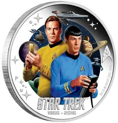 2016 Star Trek 50th Anniversary Captain Kirk and Mr. Spock 1oz Silver Proof Coin