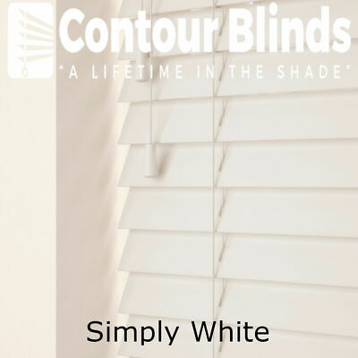 WHITE WOOD VENETIAN REAL WOOD BLINDS - 35 & 50mm SLAT SIZES - CHILD SAFE BLIND
