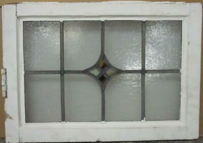 "OLD ENGLISH LEADED STAINED GLASS WINDOW Pretty Diamond Design 21.25"" x 15"""