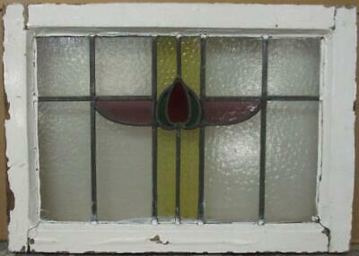 "OLD ENGLISH LEADED STAINED GLASS WINDOW Cute Abstract Design 21.25"" x 15.25"""