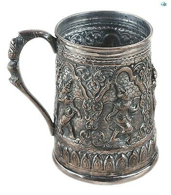 Marvelous Antique Late 1800s Asian Burmese Silver 5 Dancers Repoussé Cup Goblet