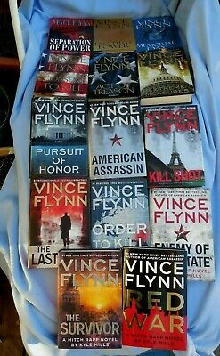 14 Vince Flynn Thrillers featuring Mitch Rapp - All Hard Cover w/ Dust Jackets