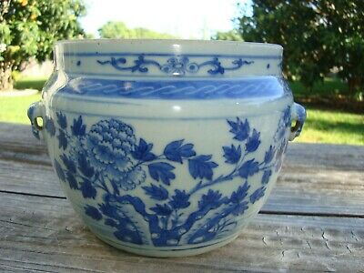 Antique 19th Century Chinese Blue and White Porcelain Peony Rock Jar