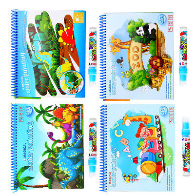 Kids Magic Book Animal Water Drawing Pen Coloring Book Painting Graffiti Board