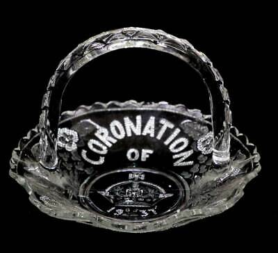 Vintage Coronation of King George VI 1937 pressed glass basket