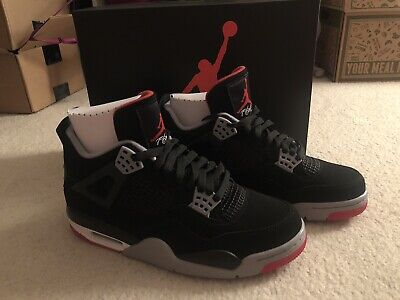 22c71a7fc43f NEW Nike Air Jordan 4 Retro Black Cement OG Bred 2019 Nike Air Size 8.5 IN