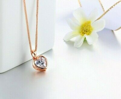 """.18ct Heart Cut Diamond 14K Rose Gold Over Pendant 18""""Chain Daily Wear Necklace"""