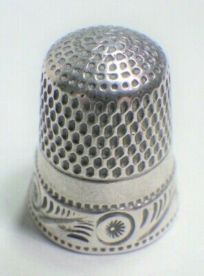 Vintage Antique Sterling Silver Thimble by Goldsmith Stern Circles Feathers