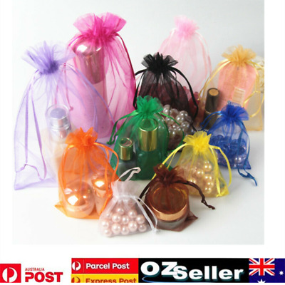 50-100pcs Organza Bag Sheer Bags Jewellery Wedding Candy Packaging Gift 3 Size