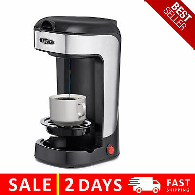 Personal 1 Cup Drip Coffee Maker to Brew Ground Beans Black and Silver Single Serve One Cup Coffee Dripper VRM010046N Vremi Single Cup Coffee Maker includes 14 oz Travel Coffee Mug and Reusable Filter