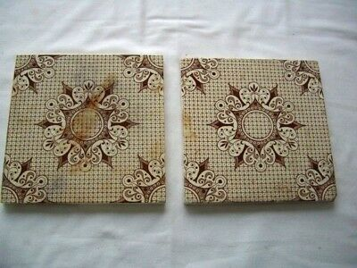 """Antique Ceramic Tiles -  2 x Brown and White-  6"""" x 6 """""""