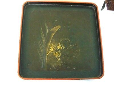 Antique Chinese/Japanese Square Lacquered Wood Tray - Gilt hand painted decor