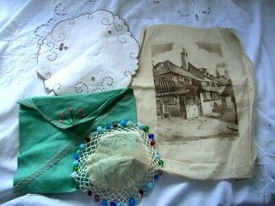 Job Lot of 4 Asst Vintage Items~Table Mats,Lace,Embroidery,Linen