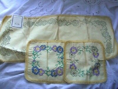 Printed Linen centre runner for table & 2 smaller mats, part done Embroidery