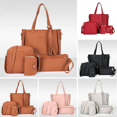 Fashion Women PU Leather Handbag Shoulder Bag 4pcs/set Ladies Clutch Purse Bags