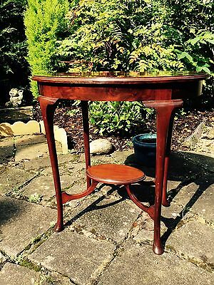 Edwardian Mahogany Oval Table - with raised under tier - Queen Anne legs