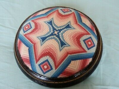 "Vintage round footstool with tapestry cover 13"" dia beautiful"