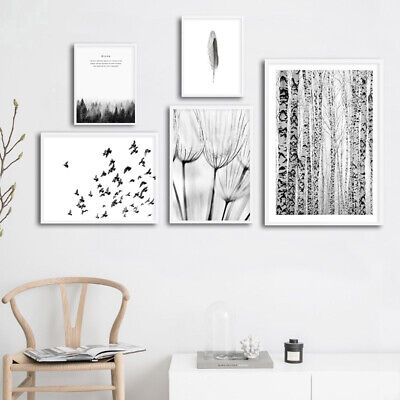 Black White Scenery Poster Nordic Forest Dandelion Wall Art Canvas Print Picture