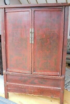 antique chinese cupboard, red lacquer