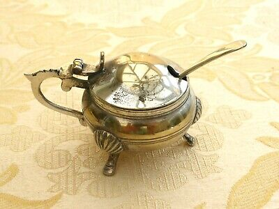 Vintage Silver Plated Round Salt Pot With Salt Spoon   1400984/986