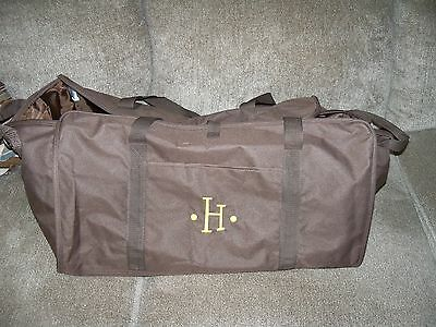 Thirty-One Brown W/Embroidered H XXL Tote EUC HTF