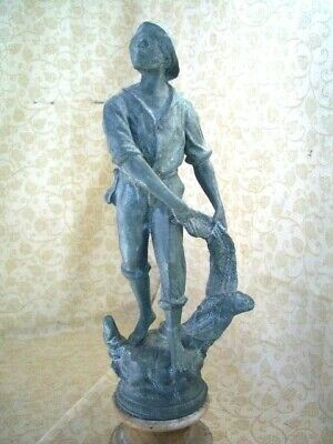 "Antique Figure /Sculpture Of Pecheur (Fisherman), Wood Plinth 15"" tall"