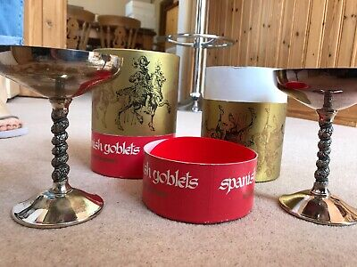 2 x Spanish Falstaff Silver Plated Goblets in original boxes