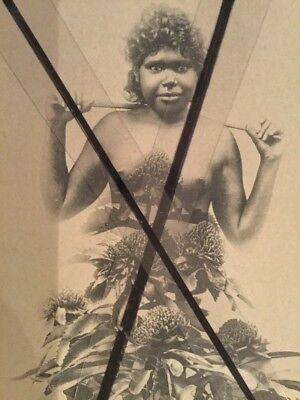 ANTIQUE VINTAGE OLD PHOTO POSTCARD Australian  ABORIGINAL WOMAN Girl Wild flower