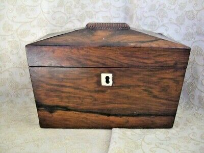 Sarcophagus Shaped Rosewood Tea caddy ~ NO key