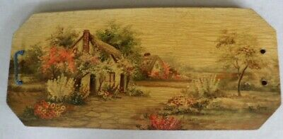 Vintage hand painted wooden sandwich tray Doilies keeper cottage garden scene