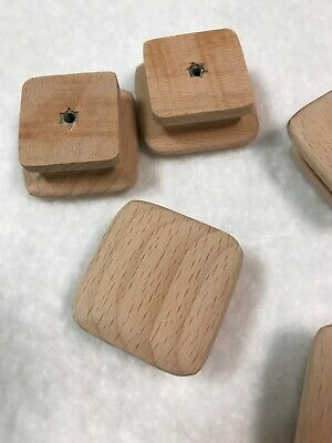 NEW UNFINISHED MAPLE SQUARE  WOOD CABINET KNOBS Set Of 8