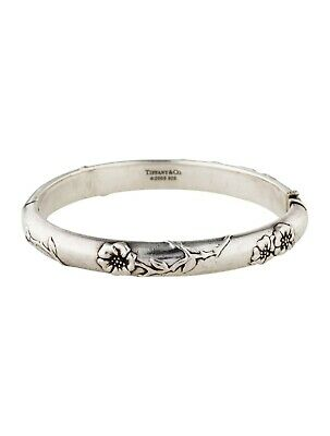 9ec9373a3 Tiffany & Co. Nature Flower Rose Bangle Bracelet Sterling Silver Pouch Box