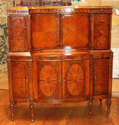 Best Inlaid Satinwood Burled Walnut French Tall Dresser Louis XVI MINT Restored