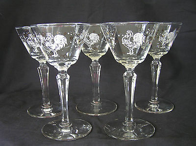 5 Mid Century Rooster Cocktail Glasses, Gold & White, Vintage