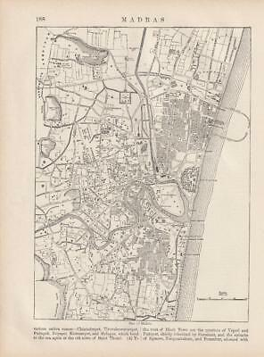 Plan of Madras India Asia Map by W & A K Johnston 1875