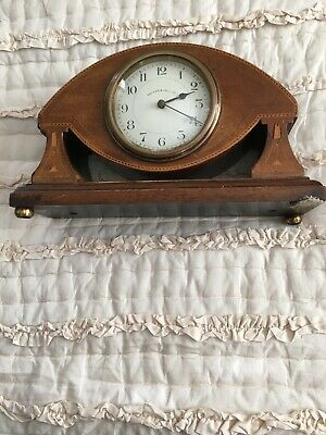 Edwardian Mahogany Inlaid Mantle Clock with key. Good condition.