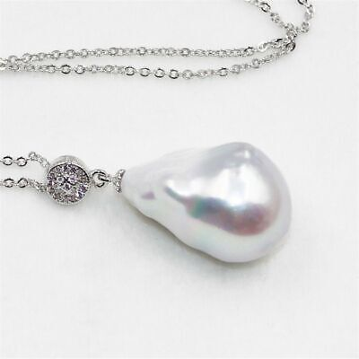 18-25mm White Baroque Pearl Pendant Classic Gift Natural Aurora Real Luxury AAA