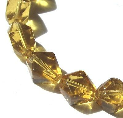 16 Beautiful Old Small Faceted Translucent Honey Bohemian Antique Glass Beads