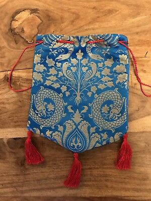 Medieval Style Silk Drawstring Purse / Pouch, with Silk Lining and Tassels