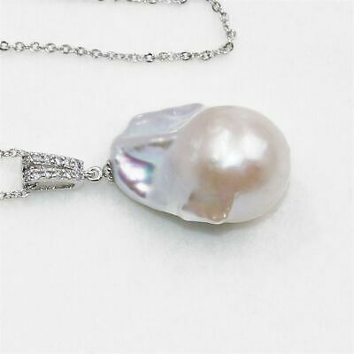 16-25mm White Baroque Pearl Pendant Classic Wedding Women Party Luxury Real Gift