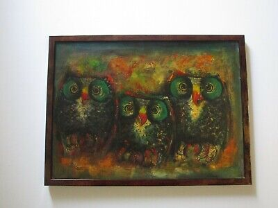 Pons Signed Vintage Retro Owl Owls Painting Modernist Expressionism Mid Century