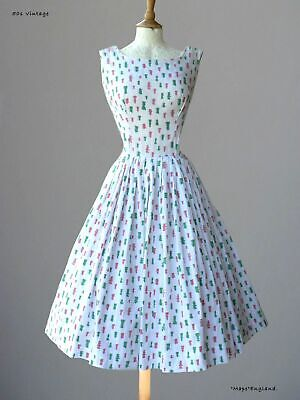 "50s  Vtg  CHARMING  SUMMER / PARTY DRESS - CHESS PIECE PRINT  37""  Bust"