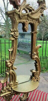 "Antique Gold Gesso Wooden Victorian Wall Mirror Shelf large 32"" Art Nouveau swag"