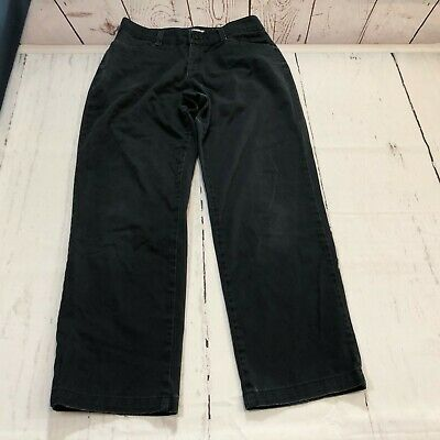 Lee Relaxed Fit At The Waist Women Pants Size 6 Short Black Khakis Chinos E6