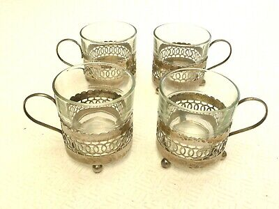 4 x SILVER PLATED FILIGREE GLASS HOLDERS AND FRENCH GLASSES   1430220/224