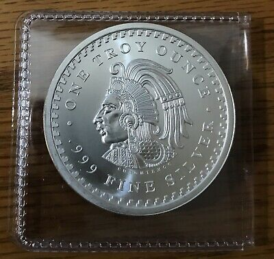 Gorgeous Proof Like Aztec Calendar Cuauhtemoc 1 Troy Oz 999 Silver Round GEM BU