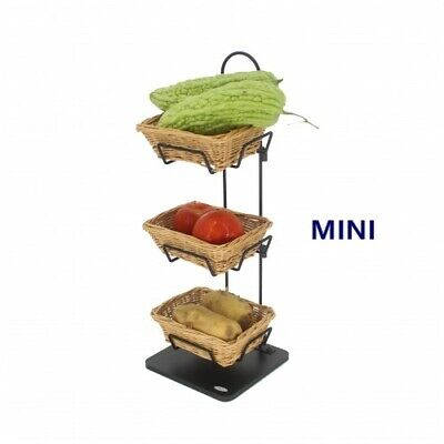 Mini 3 Tier Wicker Basket Stand Impulse Buy Item Rack Countertop Candy Display