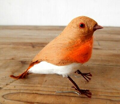Vintage 1960s Christmas Tree Robin Decoration Real Feather Retro Mid Century #C
