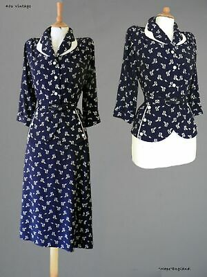 "40s Vtg ""R**DELLA "" STRIKING SUMMER SUIT- RICH NAVY  WHITE FLORAL   38"" Bust"