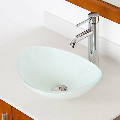 Elite 1420/ F371023 White Oval Tempered Glass Bathroom Vessel Sink with Faucet